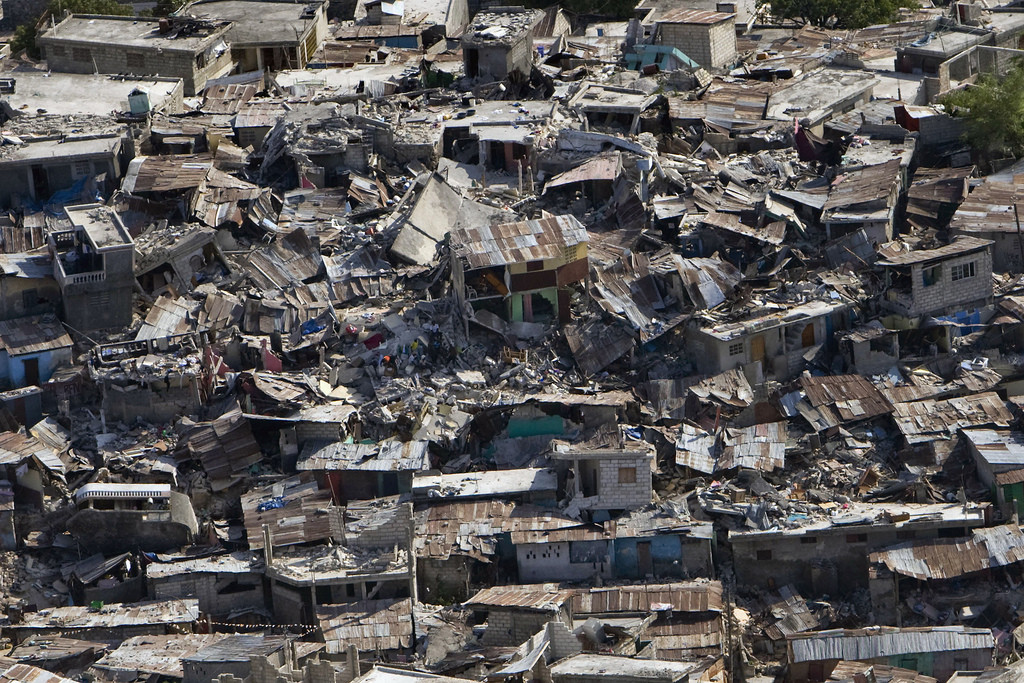 A poor neighbourhood shows the damage after an earthquake measuring 7 plus on the Richter scale rocked Port au Prince Haiti just before 5 pm, January 12, 2009.