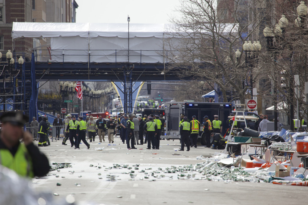 Scene at the Boston Marathon bombing in 2013.